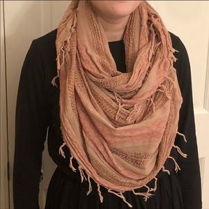 Express Tan and Pink Infinity Scarf